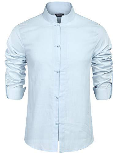 COOFANDY Herren Hemd Langarm Regular Fit Leinenhemd aus Baumwollemischung Freizeithemd mit Kariert Leinen Shirt