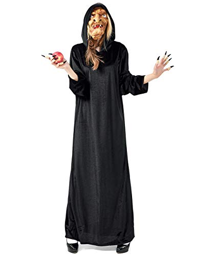 Kostüm für Erwachsene, Königin / dunkle Hexe, Umhang aus Samt Gr. Medium, Schwarz