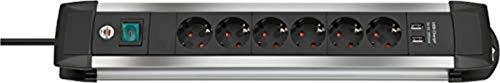 Brennenstuhl Brennenstuhl Premium-Alu-Line regleta enchufes con 6 tomas de corriente y carga USB (cable de 3 m, interruptor iluminado, Made in Germany) plateado/negro