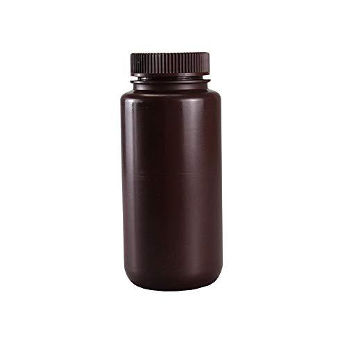JRLGD PP Weithalsflaschen mit Kappen, Laborprobenflasche, Reagenzflasche, 500 ml, braun, 5 Stück