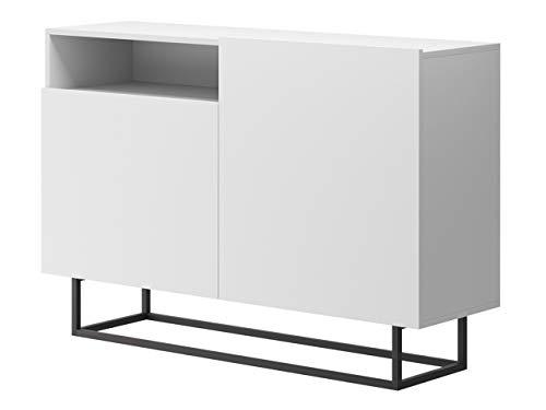 Mirjan24 Kommode Enjoy EK120 mit 2 Türen, Mehrzweckschrank, Anrichte, Kommode für Diele & Flur, Wohnzimmer, Highboard, Sideboard, Loft Vintage (Weiß)