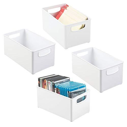 mDesign Juego de 4 cajas organizadoras con asas – Caja de almacenaje para material de oficina – Organizador de escritorio en plástico con múltiples usos para despacho y otras estancias – blanco