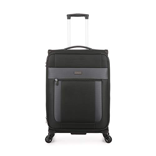 Antler Translite II, Durable & Expandable Lightweight Soft Shell Suitcase (Medium, Black)