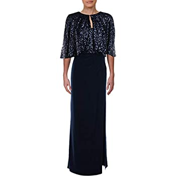 Alex Evenings Women s Long Sequin Dresses Navy Capelet 16