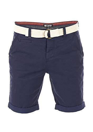 riverso Herren Chino Shorts RIVHenry Gürtel Bermuda Kurze Hose 98{b6111c21e1e7f5ace42667a4bd495186458a2dea33e14ab4f04e737c58350561} Baumwolle Hellblau Dunkelblau Navy Rot Grün Orange Beige Grau w30 - w42, Größe:W 40, Farbe:Dark Navy (19400)