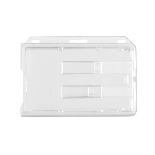 WEBBOMB® Funda para 2 tarjetas de plástico duro transparente con dos deslizadores horizontales para tarjetas de identificación, soporte para tarjet