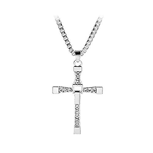 NC110 God Bless Toretto Jesus Single Cross Necklace Silver Color Prayer Choker Cross Pendants Men Jewelry