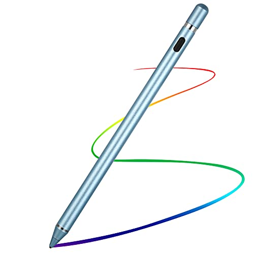 Active Stylus Pens for Touch Screens,1.5mm Fine Point Rechargeable Digital Pencil Capacitive Pen Fine Point Stylist Pen Pencil Compatible with i-Phone i-Pad and Other Tablets (Blue)