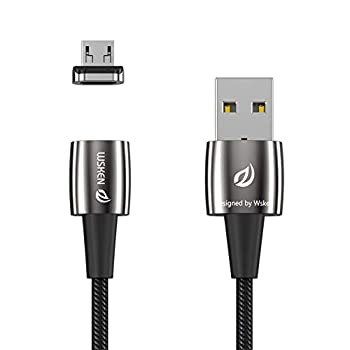 Wsken Mini 2 Micro USB Magnetic Cable 2 Pack Super Fast Charging Cable Portable Android Phone Charger Data Sync LED for Samsung Galaxy S7 S6 Edge S5 S4 Note 5 4 Kindle / Fire 3 .28 ft Sliver 2 Pack