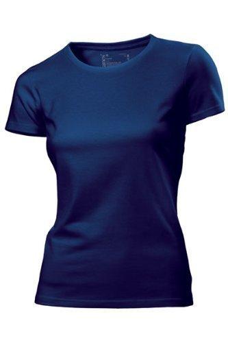 Hanes - T Shirt Femme Uni sans Etiquette Bio sans Logo Manche Courte Bleu Bleu Roi 16