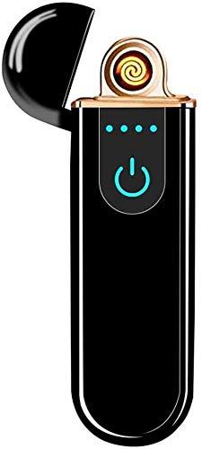 Electric USB Lighter Windproof Rechargeable Slim Coil Lighter with Smart Fingerprint Sensor Double Side Ignition(Black)