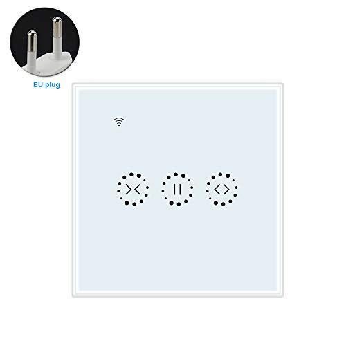 Interruptor de cortina inteligente WiFi Interruptor de persiana enrollable motorizada, control de voz remoto inteligente, blanco