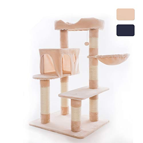 Ribelli XL Kratzbaum Katzenbaum Kratzbäume mit Sisal-Seil und Plüsch Bezug Liege Höhle Katzenmöbel Spielhaus und Spielzeug für Ihre Katzen Höhe 114 cm (beige)
