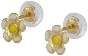 Little Girl 14K Yellow Gold Color Enamel Flowers And Ladybugs Silicone Back Stud Earrings