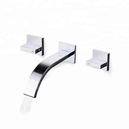 YO-TOKU Kraan Bathroom Sink Wall Mount Opknoping Hung Copper tap wastafel WC Fancy Mixer dubbel handvat Kraan dagelijks gebruik, Duurzaam Kraan voor Badkamer Home Decoration