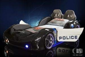 3ft Children's Black Police Racing Car Bed With LED Lights, Sounds & Bluetooth