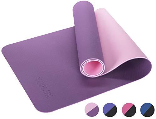 HEGG Profi Yogamatte | Gepolstert & rutschfest | YOFLEX | Gymnastikmatte für Yoga, Pilates, Sport, Gymnasik und Training (Pink/Schwarz)