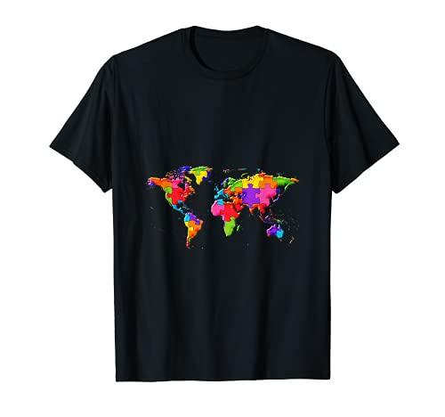 世界の地球地図ジグソーパズル自閉症のパズル Tシャツ