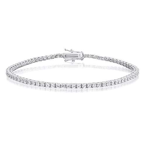 Remo Gammella Joyas pulsera hombre mujer tenis plata 925 con circonitas corte brillante diamante de 2 mm colores blanco, negro, rojo, verde, azul y aguamarina. Tamaño: 19,5 cm