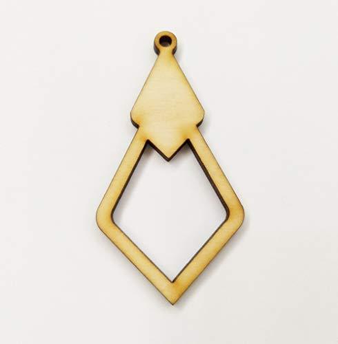 30 pendientes de madera sin terminar, sin acabar, con forma de diamante hueco, de madera, de 6,35 cm