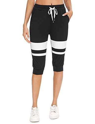 Akalnny 3/4 Pantalones Chándal para Mujer Corto Pantalón Deportivo Pantalones Casuales de Color Contraste con Bolsillo con Cordón para Deporte Yoga Fitness(Negro, S)