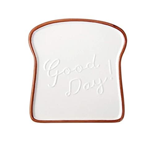 Plato de cerámica creativo QWEA, plato de desayuno multifuncional, plato de pan con forma de tostadas, plato de ensalada, bandeja de aperitivos de frutas, vajilla para el hogar