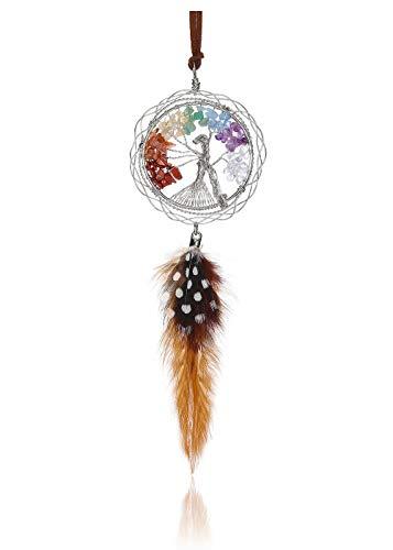 CrystalTears Árbol de la vida decorativo, piedras de chakra, colgante de coche para espejo de plata con alambre enrollado, árbol de la vida, atrapasueños