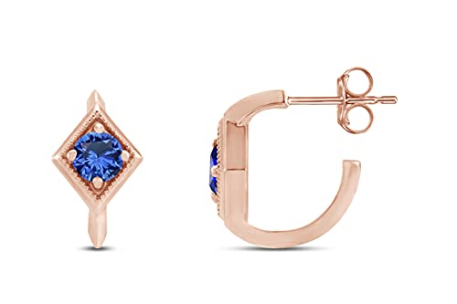 Oro de 18 quilates sobre plata de ley 925 imitación granate Friction Backs incluidos pendientes de aro geométricos – Joyería regalo para mujer, Blue Sapphire,