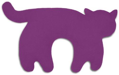 Leschi REISEKISSEN für erholsamen Schlaf in Auto, Flugzeug und Camping-Bett/Reisegeschenk für Kinder und Erwachsene/waschbares Nackenkissen/Katze Feline, lila schwarz