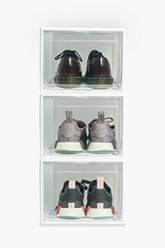 Melgar King Drop front Stackable Shoe / Sneaker Storage Organizer Box Pack of 3, Clear Acrylic Door, Durable Plastic Body Container, Adhesive Label holder INCLUDED, Great Bin, White Frame XL