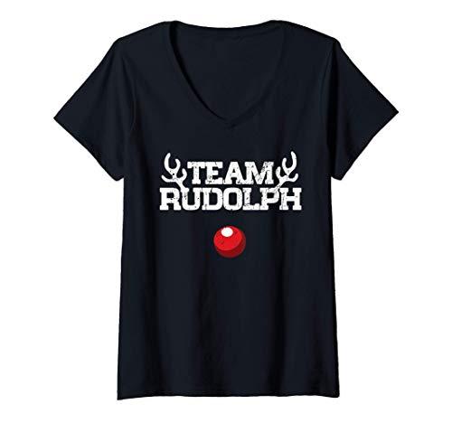 Womens Team Rudolph Funny Christmas Reindeer Lover Gift V-Neck T-Shirt