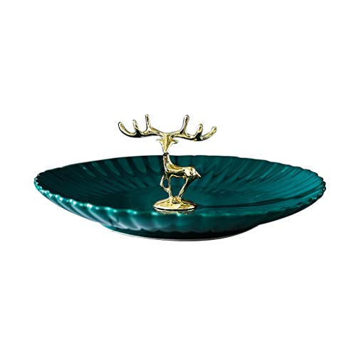YXCKG Decorative Tray, Ceramic Plate Jewelry Tray, Exquisite Antlers Jewelry Organizer Tray for Ring, Earring, Necklace, Key Tray for Entryway, Living Room Decor (Size : Small)