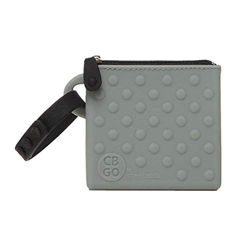 CB Go Small Silicone Pouch. On-The-Go for Stroller and Diaper Bag Organizer for Pacifiers, Keys, Credit Cards & More, Grey