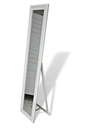 180x40cm Standspiegel groß antik mit Patina | Spiegel mit Fuß barock aus Holz | im Landhausstil als Badspiegel | Schminkspiegel bzw. Frisierspiegel für das Landhaus | Ankleidespiegel (Weiß, 180 x 40 cm)