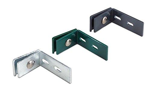 meingartenversand.de Wandanschluss-Winkel/L Winkel-beschlag aus verzinktem Stahl im Maß von ca. 6 cm x 10 cm x 4 cm zur Befestigung von Metallzäunen an der Wand inkl. Schrauben