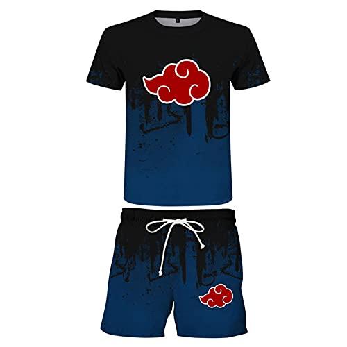 ZOSUO Naruto Hommes Anime T-Shirt À Manches Courtes Et Joggers Shorts Vêtements De Sport 2 Pièces Ensemble Akatsuki Cosplay Survêtement,Noir,M