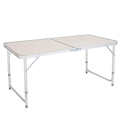 Aluminum Folding Table, Portable Camping Table Lightweight Foldable Desk Height Adjustable for Party Picnic Dining Outdoor Indoor Use Furniture (120x60x70cm)