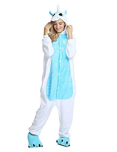 Pijama Animales Disfraz Cosplay Carnaval Halloween Costumes Unisex Mono Pijama entero Unicornio Panda Pingüino Unicornio-blu S