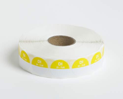 Set van 5 Rollen - 2000 HACCP Labels op 1 rol - 10.000 in totaal - dinsdag - geel - ronde dagstickers 19 mm, schrijfbaar. Plakt op elke ondergrond, voor etenswaren koelkast en vriezer, houdbaarheidsdatum,THT