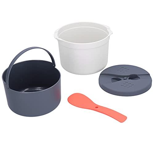 Olla arrocera, recipiente de alimentos para microondas Horno microondas doméstico Olla arrocera Vaporizador de arroz de 2 capas Olla de vapor resistente a altas temperaturas