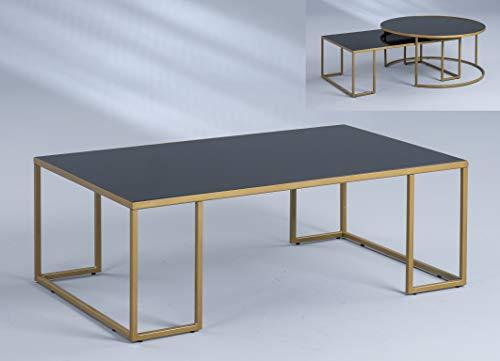 HomeTrends4You Matteo 2 Tavolino da Salotto/Divano, Oro/Nero, 102x36x61cm