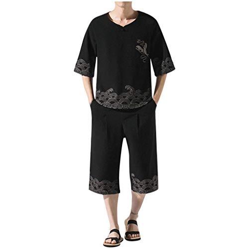 Smonke 2 PCS Herren Chinese Style Stickerei Einfarbiges T-Shirt Kurzarm Tops Pocket Pants Casual Set