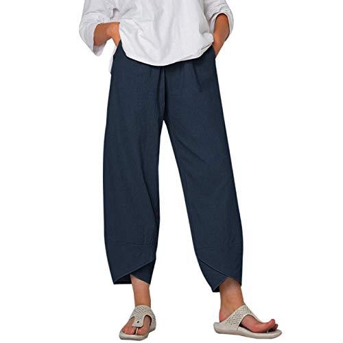 AOZLOVEC Pantalones de harén con estampado vintage Pantalones de mujer Pantalones de pierna ancha con cintura elástica informal Pantalones sueltos M Color5