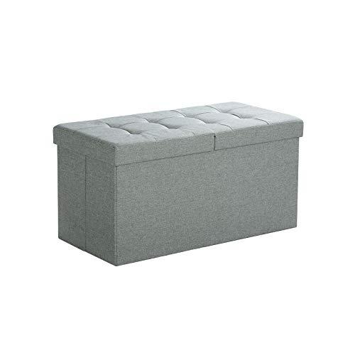 SONGMICS Sitzbank mit Stauraum, Sitztruhe mit Klappdeckel, Aufbewahrungsbox, faltbar, max. statische Belastbarkeit 300 kg, 80 L, 76 x 38 x 38 cm, Leinenimitat, hellgrau meliert LSF41G