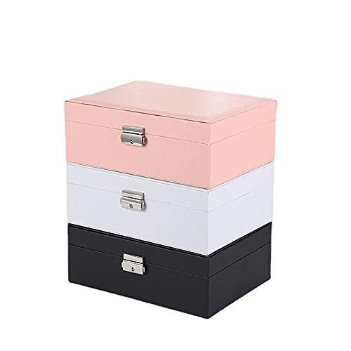 Pendientes de cuero doble pendientes caja de almacenamiento de joyería reloj joyería-rosa, A
