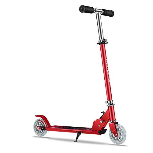 LITIAN Semi-Aluminium-Eisen-Scooter Kinder Scooter-Faltbare und höhenverstellbar Red