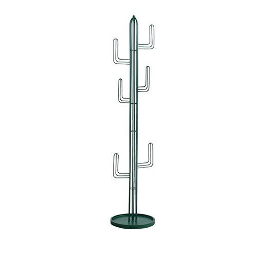 FEANG Perchero de Pie Simple Abrigo de Metal Rack Ensamblado Sala de Estar Sombrero Ropa Casa Muebles Multi Ganchos Colgando Cactus Ropa Estante Perchero para Abrigos (Color : Green)