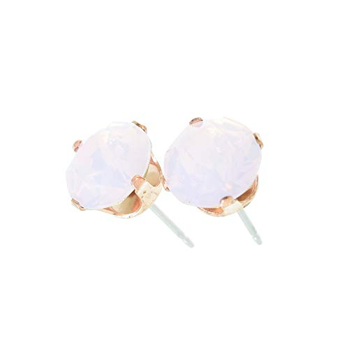 pewterhooter Rose gold plated stud earrings for women made with Rose Water Opal crystal from Swarovski. Gift box.