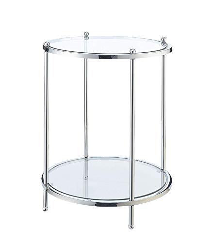 Convenience Concepts Royal Crest 2 Tier Round End Table, Clear Glass / Chrome