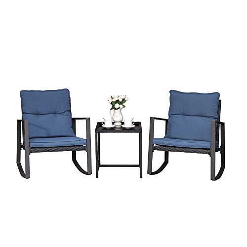 COSIEST 3 Piece Bistro Set Patio Rocking Chairs Outdoor Furniture w Blue Cushions, Glass-Top Table for Garden, Pool, Backyard